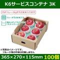 送料無料・フルーツギフトボックス  K6サービスコンテナ 3K   365×270×115mm「100個」