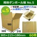 【宅80】規格ダンボール箱No.5「60枚」305×215×180mm A4サイズ対応