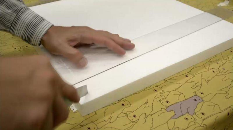 発泡スチロール製ファブリックボード作成方法