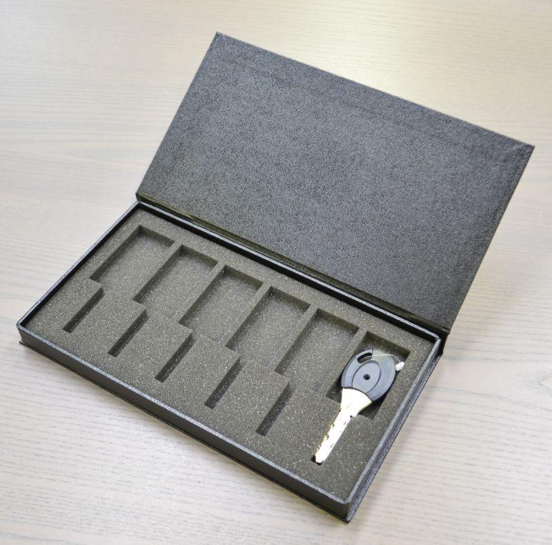 マンション鍵用梱包資材(ブック型貼箱+片サック箱+ウレタン)