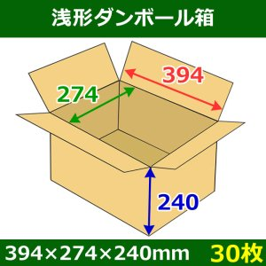 画像1: 送料無料・浅形ダンボール箱 394×274×240mm (100サイズ対応) 「30枚1セット」
