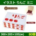送料無料・フルーツ用ギフト箱 イラストりんご ミニ 300×205×105(mm) 「80個」