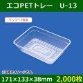 送料無料・青果用トレー   エコPETトレー U-13(マンゴー2個用) 171×133×38mm「2,000枚」