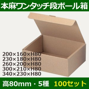 画像1: 送料無料・ワンタッチ組立ダンボールギフト箱200×160×高80mm他全5サイズ「100枚」