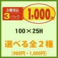 送料無料・販促シール「3P__円 全2種類」100x25mm「1冊500枚」