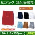 送料無料・手提袋 ミニバッグ 幅190×マチ110×丈250mm 「100枚」全7色