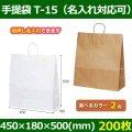 送料無料・自動紐手提紙袋 T-15 幅450×マチ180×丈500mm 「200枚」全2色