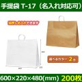 送料無料・自動紐手提紙袋 T-17 幅600×マチ220×丈480mm 「200枚」全2色