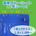 送料無料・「国産」ブルーシート(2年シート) 1.8×1.8Mから「全12サイズ」