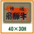 送料無料・精肉用販促シール「飛騨牛」40x30mm「1冊500枚」
