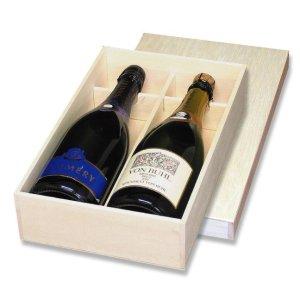 画像1: 送料無料・シャンパン2本用箱「15箱」ファルカタ木材 適応瓶:約95φ×324Hまで