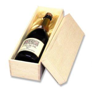 画像1: 送料無料・シャンパン1本用布貼箱「30箱」ファルカタ木材 適応瓶:約88φ×330Hまで